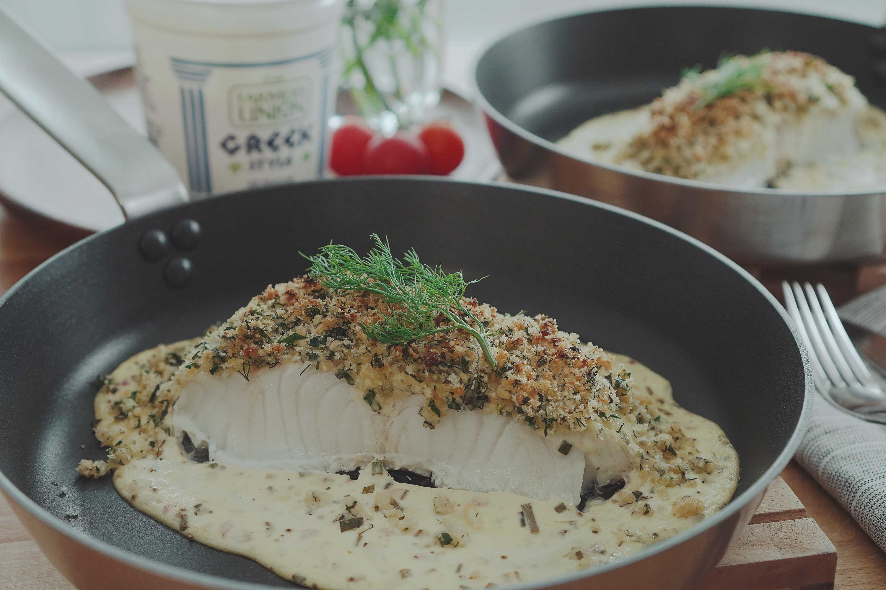 Yogurt Baked Fish With Pine Nut Herbed Crumbs