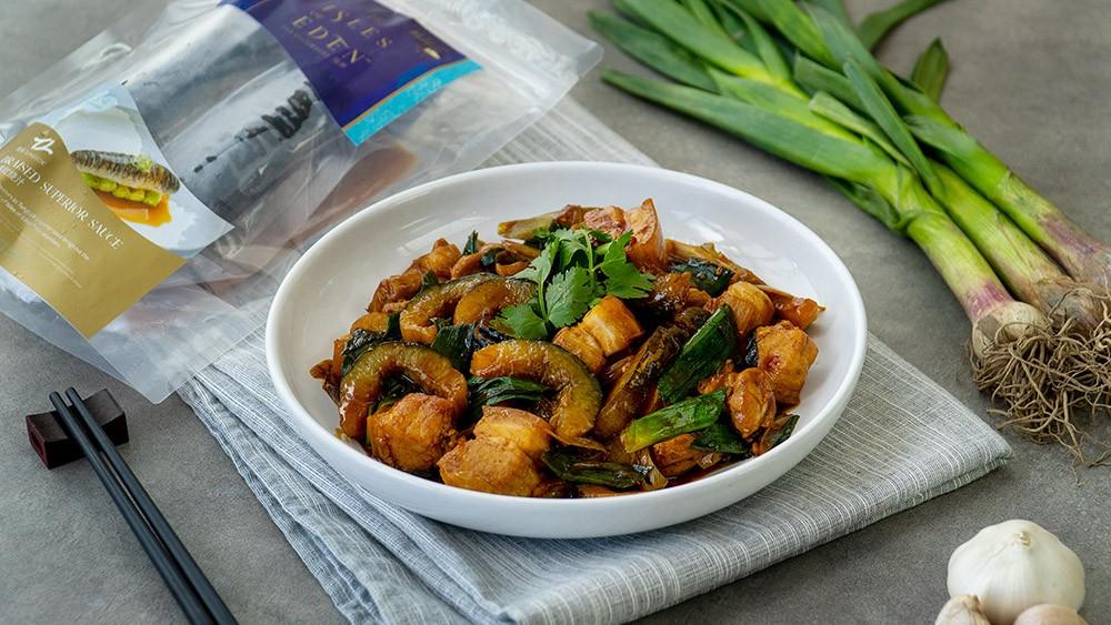 Stir Fried Sea Cucumber with Pork Belly and Leeks - 猪肉韭菜炒海参
