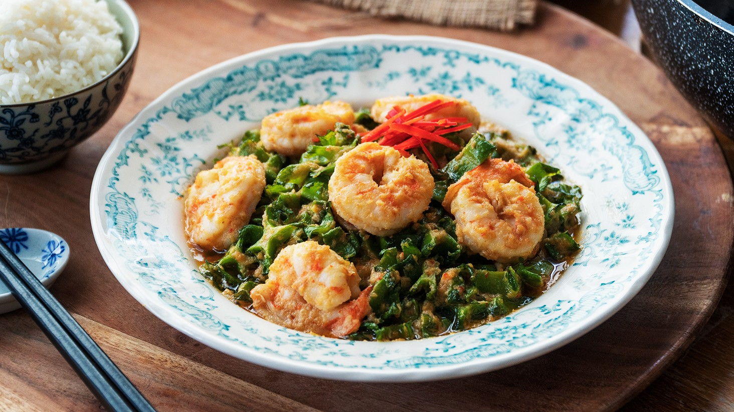Stir Fried Winged Bean with Prawns in Coconut Sauce - 椰汁炒四角豆